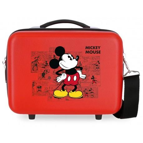 Neceser Rígido en ABS con Asa y Bandolera Mickey Comic Rojo