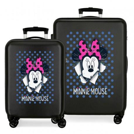 Juego Maletas Cabina y Mediana Rígidas en ABS Minnie Sunny Day Azul