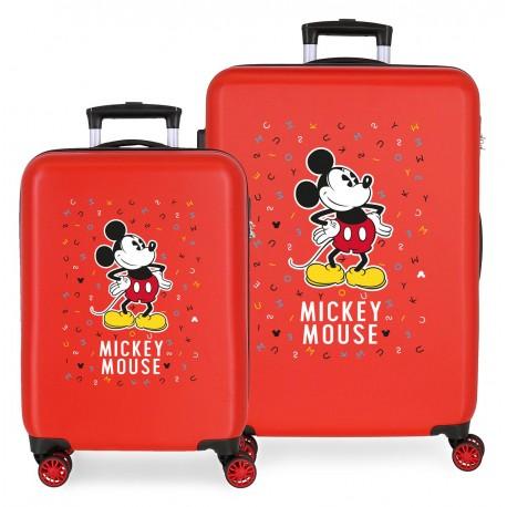 Juego Maletas Cabina y Mediana Rígidas en ABS Have A Good Day Mickey Rojo