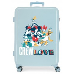 Maleta Mediana Rígida en ABS de 4 Ruedas Mickey Crew Love Azul Claro