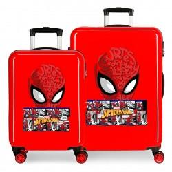 Juego Maletas Cabina y Mediana Rígidas en ABS de 4 Ruedas Spiderman Comic
