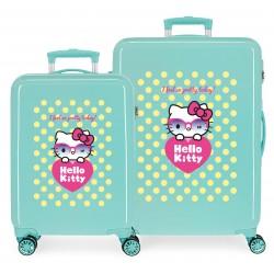 Juego Maletas Cabina y Mediana Rígidas en ABS de 4 Ruedas  Hello Kitty Pretty Glasses