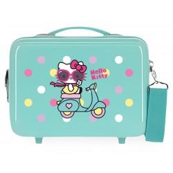 Neceser Adaptable a Trolley con Bandolera en ABS Girl Gang Hello Kitty Azul Claro