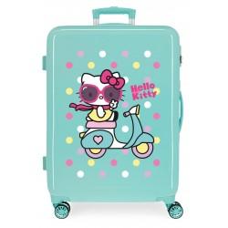 Maleta Mediana Rígida en ABS de 4 Ruedas Girl Gang Hello Kitty Turquesa