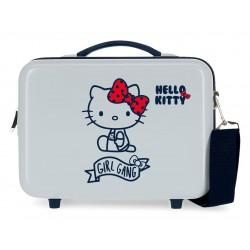 Neceser Rígido en ABS Adaptable a Trolley con Bandolera Girl Gang Hello Kitty Azul Claro