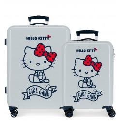 Juego Maletas Cabina y Mediana Rígidas en ABS de 4 Ruedas Girl Gang Hello Kitty Azul Claro