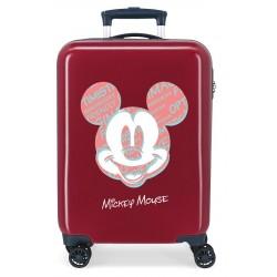 Maleta Cabina Rígida en ABS de 4 Ruedas Mickey Always Be Kind Granate