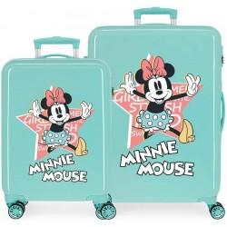 Juego Maletas Cabina y Mediana Rígidas en ABS de 4 Ruedas Thats Easy Minnie Mouse Turquesa