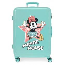 Maleta Mediana Rígida en ABS de 4 Ruedas Thats Easy Minnie Mouse Turquesa