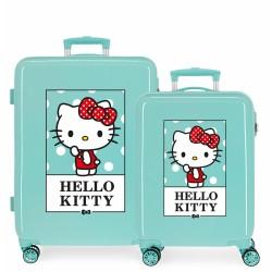 Juego Maletas Cabina y Mediana Rígidas en ABS de 4 Ruedas  Hello Kitty Bow Of Hello Kitty Turquesa