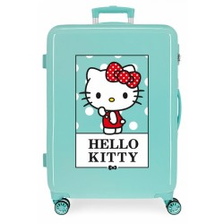 Maleta Mediana Rígida en ABS de 4 Ruedas Hello Kitty Bow Of Hello Kitty Turquesa