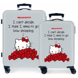 Juego Maletas Cabina y Mediana Rígidas en ABS de 4 Ruedas Hello Kitty Bow Of Hello Kitty Azul