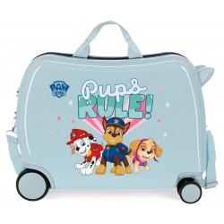 Maleta Infantil Rígida en ABS de 4 Ruedas  Paw Patrol Pups Rule Azul Claro