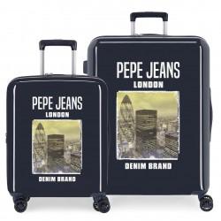 Juego Maletas Cabina y Mediana (EXPANDIBLE) Rígidas en ABS  Pepe Jeans Nolan Conrad Marino
