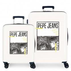 Juego Maletas Cabina y Mediana (EXPANDIBLE) Rígidas Pepe Jeans Nolan Crispin Beige