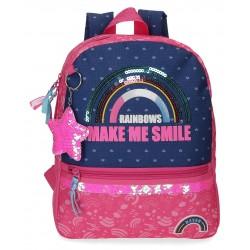Mochila Pequeña 32 cm con Bolso Frontal Movom Glitter Rainbow