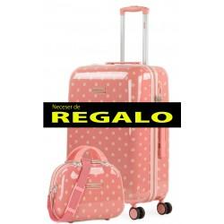 Maleta Mediana Rígida en ABS de 4 Ruedas  Skpat Polka Dots + Neceser de Regalo
