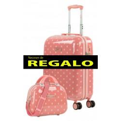 Maleta de Cabina Rígida en ABS de 4 Ruedas Skpat Polka Dots + Neceser de Regalo