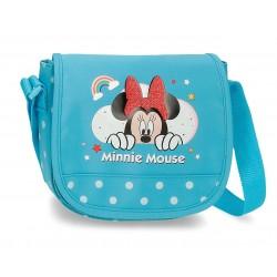 Bolso Infantil con Bandolera y con Solapa Ajustable Minnie Rainbow Azul