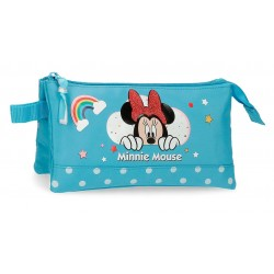 Portatodo Infantil Triple  Minnie Rainbow Azul