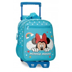 Mochila Infantil  28cm con Carro Minnie Rainbow Azul