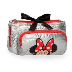 Neceser Triple Compartimento Minnie My Pretty Bow en Gris