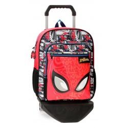 Mochila Mediana de 38cm con Carro Spiderman Comic en Rojo