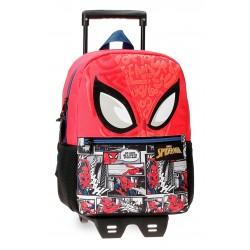 Mochila de Guardería de  32cm con Ruedas  Spiderman Comic en Rojo