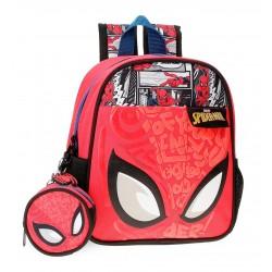 Mochila de Guardería de 25cm Spiderman Comic en Rojo