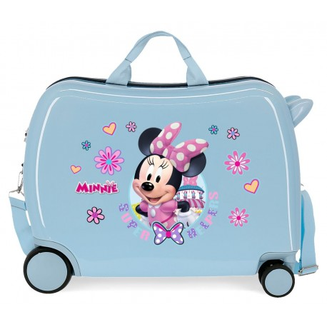 Maleta Infantil Correpasillos Rígida en ABS de 4 Ruedas Minnie Super Helpers Azul Claro