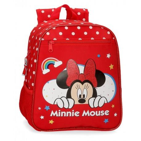 Mochila Infantil  28cm Minnie Rainbow Rojo