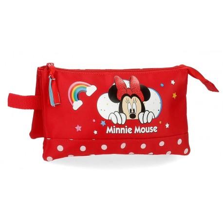 Portatodo Triple  Minnie Rainbow Rojo