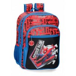 Mochila Grande de 42cm Doble Compartimento Spiderman Greaat Power