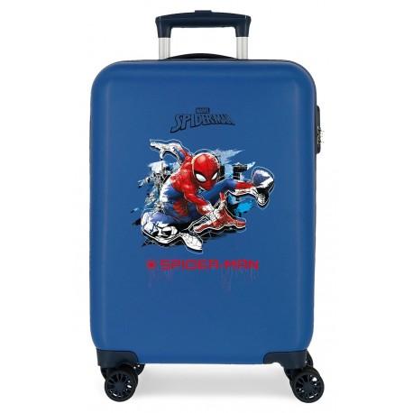 Maleta Cabina Rígida en ABS Spiderman Geo Azul