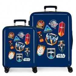 Juego Maletas Cabina y Mediana Rígidas en ABS de 4 Ruedas  Star Wars Badges Space Mission Azul