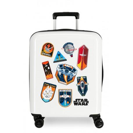 Maleta Cabina Rígida en ABS de 4 Ruedas Star Wars Badges Space Mission Blanco