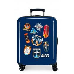 Maleta Cabina Rígida en ABS de 4 Ruedas Star Wars Badges Space Mission Azul
