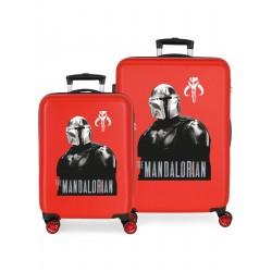 Juego Maletas Cabina y Mediana Rígidas en ABS de 4 Ruedas Star Wars The Mandalorian Rojo