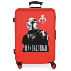 Maleta Mediana Rígida en ABS de 4 Ruedas Star Wars The Mandalorian Rojo