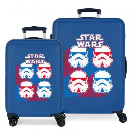 Juego Maletas Cabina y Mediana Rígida en ABS de 4 Ruedas Star Wars Droids Vader Azul