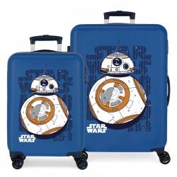Juego Maletas Cabina y Mediana Rígidas en ABS de 4 Ruedas  Star Wars Droids BB8 Azul