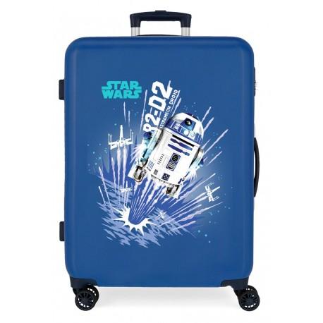 Maleta Mediana Rígida en ABS de 4 Ruedas Star Wars Droids R2-D2 Azul