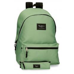 Mochila Grande de 44cm Portaordenador + Portatodo Pepe Jeans Colorful Verde Claro