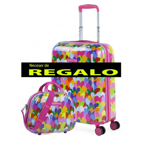 Maleta Cabina Agatha  Corazones Colores de 4 ruedas dobles con cerradura TSA y en Policarbonato