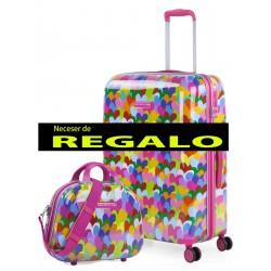 Maleta Mediana Agatha Corazones Colores  de 4 ruedas con cierre TSA y en Policarbonato + Neceser de Regalo