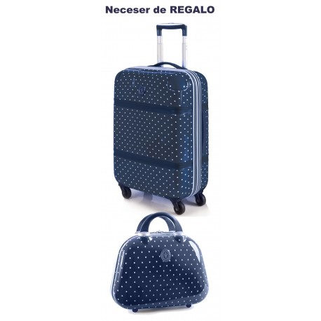 Trolley Mediano Victorio y Lucchino Lunares  Azul + Neceser de Regalo