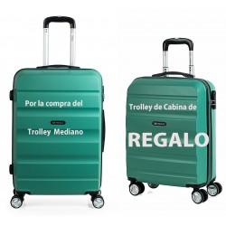 Maleta de Cabina Itaca de tamaño Mediano en color Aguamarina y en ABS con 4 Ruedas