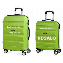 Maleta Mediana Itaca en color Pistacho, ABS, y 4 ruedas