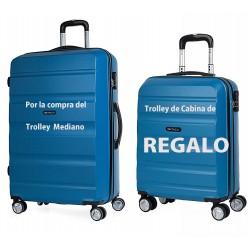 Trolley Mediano Itaca + Trolley de Cabina de Regalo en color azul, en ABS, y con 4 Ruedas