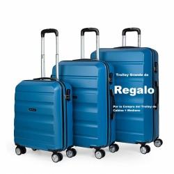 Maleta de Cabina + Mediana + Grande de REGALO de la marca Itaca en color Azul y en ABS en 4 Ruedas